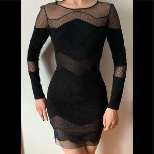 BCBG black long sleeve lace and gauze decor, XS